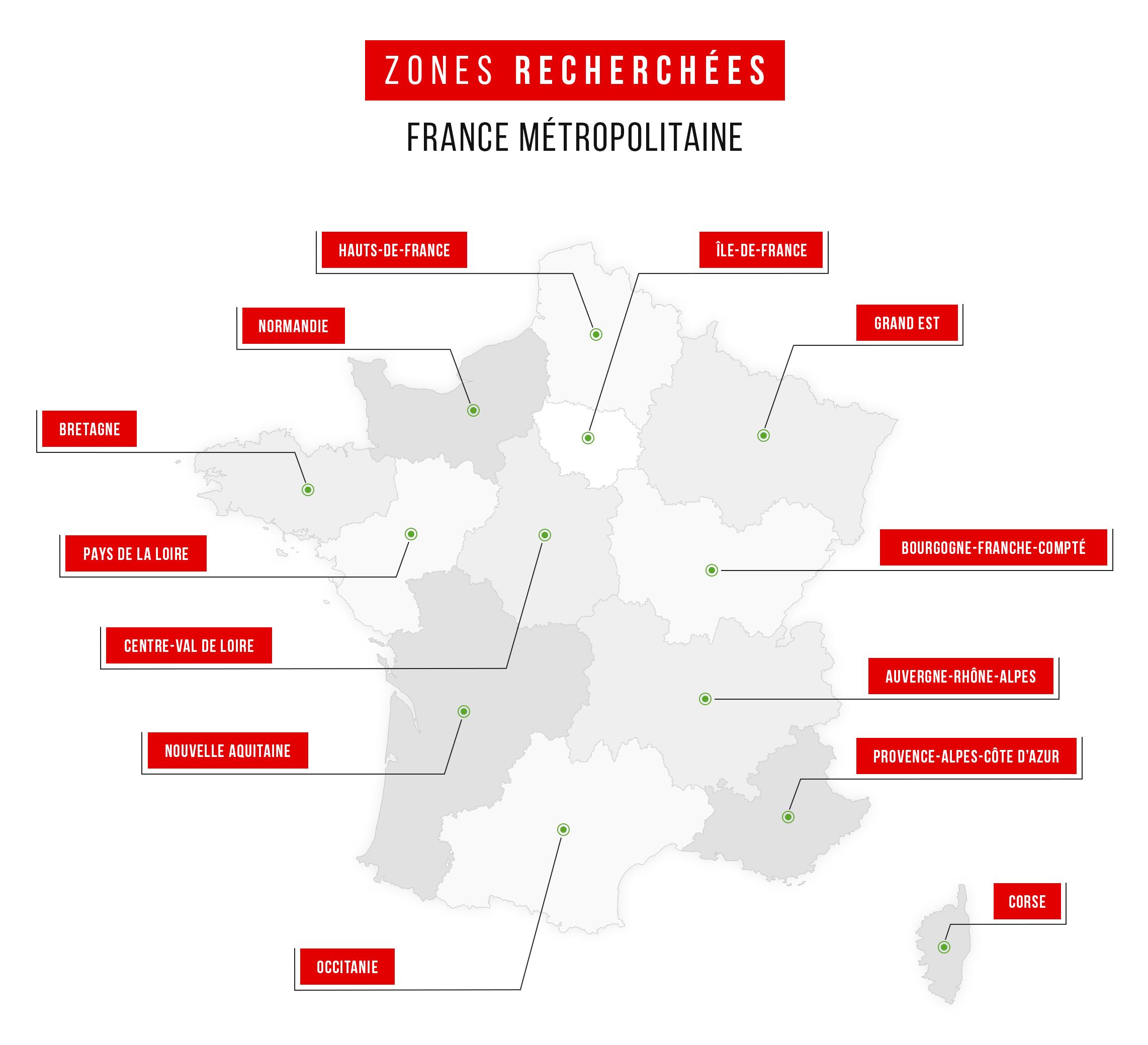 Zones dans lesquelles WebdealAuto recherche des franchisés