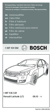 Documentation Réf.BOSCH 1987435534 - Filtre, air de l'habitacle  1 987 435 534