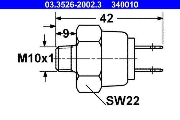 Contacteur, feu stop ATE 340010 d'origine
