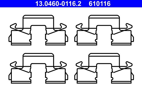 kit d 39 accessoires plaquette de frein disque ate 610116 wda. Black Bedroom Furniture Sets. Home Design Ideas