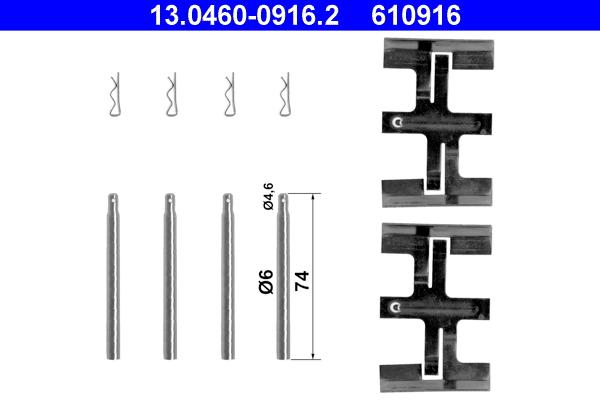 kit d 39 accessoires plaquette de frein disque ate 610916 wda. Black Bedroom Furniture Sets. Home Design Ideas