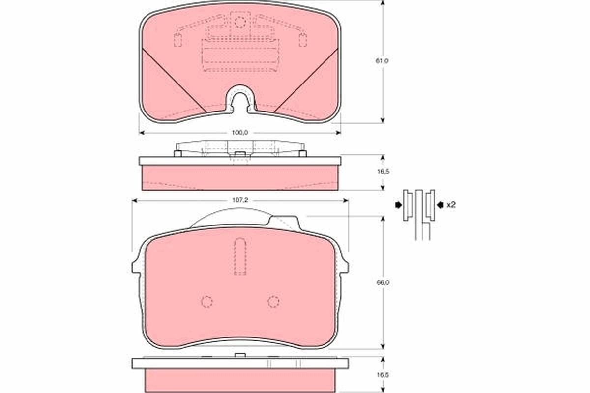jeu de 4 plaquettes de frein disque trw gdb961 wda. Black Bedroom Furniture Sets. Home Design Ideas