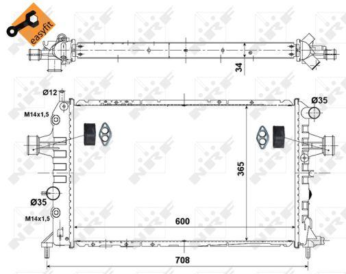 radiateur du moteur pour opel zafira i f75 2 0 dti 16v 101cv wda. Black Bedroom Furniture Sets. Home Design Ideas