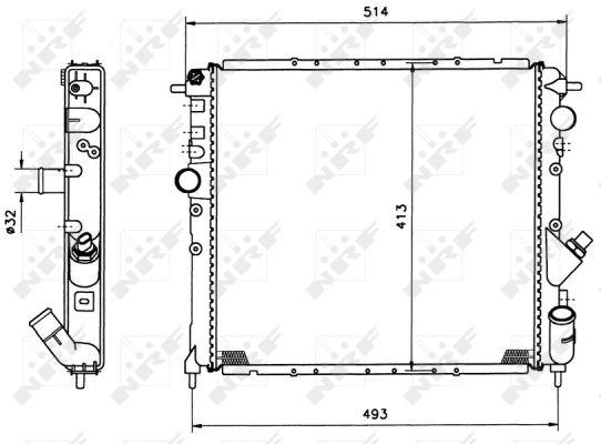 radiateur du moteur pour renault clio i williams  b  c57m