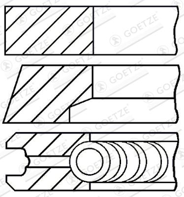 Jeu de segments de pistons GOETZE ENGINE 08-118000-00 d'origine