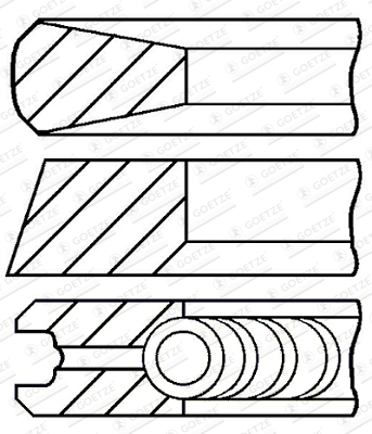 Jeu de segments de pistons GOETZE ENGINE 08-135300-00 d'origine