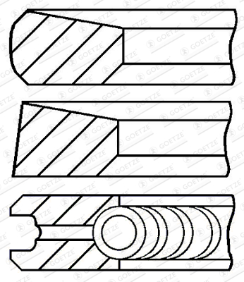 Jeu de segments de pistons GOETZE ENGINE 08-287100-00 d'origine