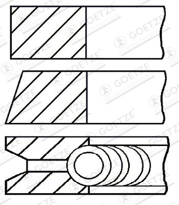 Jeu de segments de pistons GOETZE ENGINE 08-336407-00 d'origine