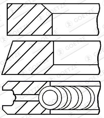 Jeu de segments de pistons GOETZE ENGINE 08-422307-00 d'origine