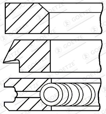 Jeu de segments de pistons GOETZE ENGINE 08-427707-00 d'origine