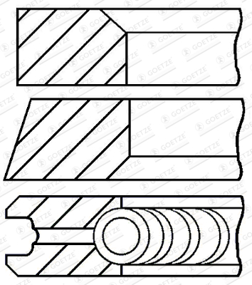 Jeu de segments de pistons GOETZE ENGINE 08-432400-00 d'origine