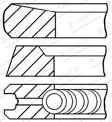 Jeu de segments de pistons GOETZE ENGINE 08-436100-00 d'origine