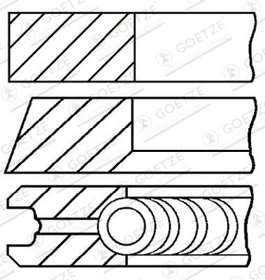 Jeu de segments de pistons GOETZE ENGINE 08-990100-00 d'origine