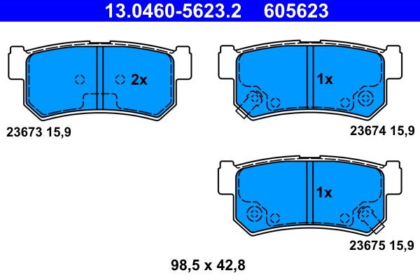 jeu de 4 plaquettes de frein disque ate 605623 wda. Black Bedroom Furniture Sets. Home Design Ideas