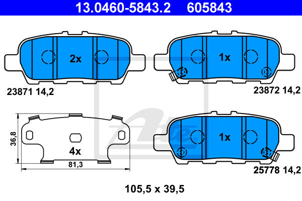 jeu de 4 plaquettes de frein disque ate 605843 wda. Black Bedroom Furniture Sets. Home Design Ideas
